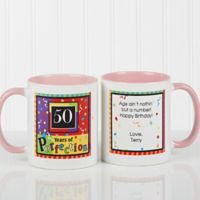 Aged to Perfection Birthday 11 oz. Personalized Coffee Mug in White/Pink