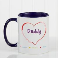 All Our Hearts 11 oz. Personalized Coffee Mug in White/Blue