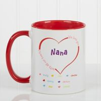 All Our Hearts 11 oz. Personalized Coffee Mug in White/Red