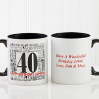 Another Year Has Gone By 11 oz. Personalized Coffee Mug in White/Black