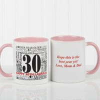 Another Year Has Gone By 11 oz. Personalized Coffee Mug in White/Pink