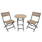 Metro Seneca 3-Piece Folding Outdoor Bistro Set in Walnut