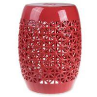 Lattice Ceramic Garden Stool in Red