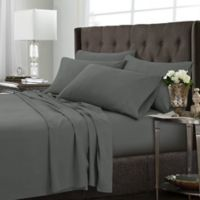 Tribeca Living Solid Queen Sheet Set in Steel Grey