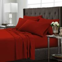 Tribeca Living Solid California King Sheet Set in Red