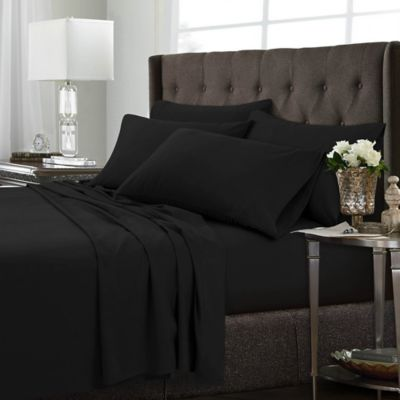 Tribeca Living Solid Queen Sheet Set In Black