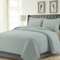 Tribeca Living Madrid Solid Queen Duvet Cover Set in Sage Green
