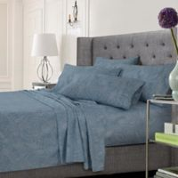 Tribeca Living Paisley King Sheet Set in Blue