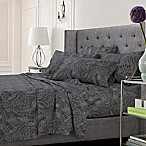 Tribeca Living Paisley Queen Sheet Set in Grey