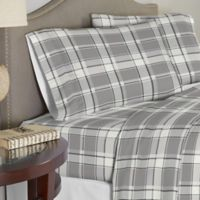 Pointehaven 200 GSM Flannel King Sheet Set in Light Grey/Dark Grey
