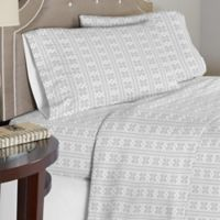 Pointehaven 175 GSM Fair Isle Flannel Full Sheet Set in Grey/White