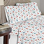 Pointehaven 175 GSM Owl Flannel Queen Sheet Set in Red/Green