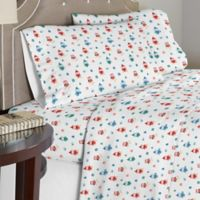 Pointehaven 175 GSM Owl Flannel California King Sheet Set in Red/Green