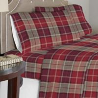 Pointehaven 175 GSM Piedmont Plaid Flannel Full Sheet Set in Red/Brown