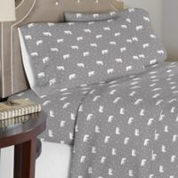 Pointehaven 175 GSM Polar Bear Flannel Queen Sheet Set in White/Grey