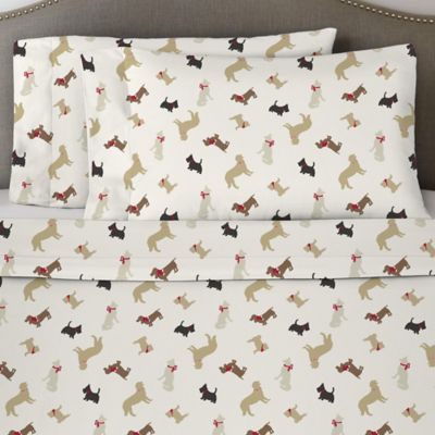 Pointehaven 170 GSM Winter Dogs Flannel California King Sheet Set In  White/Brown