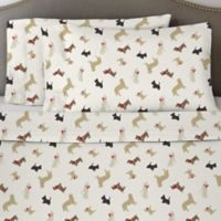 Pointehaven 170 GSM Winter Dogs Flannel Full Sheet Set in White/Brown