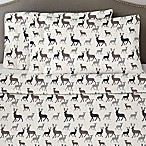Pointehaen 170 GSM Autumn Deer Flannel King Sheet Set in White/Grey