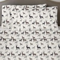 Pointehaven 170 GSM Autumn Deer Flannel Twin Sheet Set in White/Grey