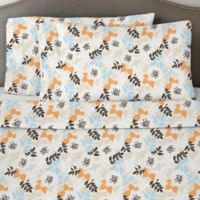 Pointehaven 170 GSM Winter Breeze Flannel Full Sheet Set in White/Orange