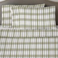 Pointehaven 170 GSM Plaid Flannel Full Sheet Set in Sage/White
