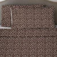 Pointehaven 170 GSM Giraffe Flannel California King Sheet Set in Chocolate