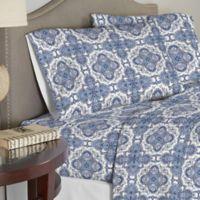 Pointehaven 200 GSM Floral Flannel Twin Sheet Set in Alpine Blue