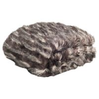 Safavieh Pheasant Faux Fur Throw Blanket in Black/Grey