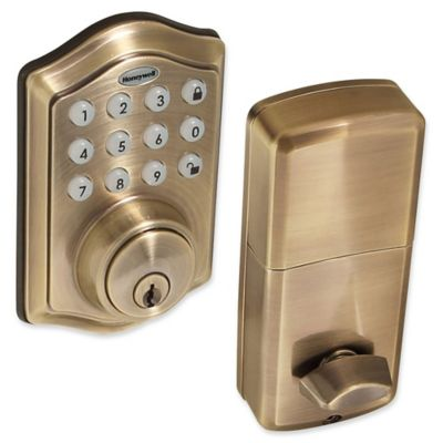 Honeywell Electronic Entry Deadbolt Door Lock with Keypad in Antique Brass  sc 1 st  Bed Bath u0026 Beyond & Buy Home Safety Door Locks from Bed Bath u0026 Beyond pezcame.com