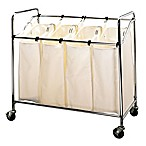 Household Essentials® Heavy-Duty Rolling Quad Laundry Sorter in Chrome