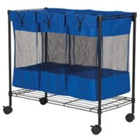 Household Essentials® Rolling Triple Laundry Sorter and Storage Bin in Blue