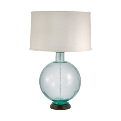 Recycled Glass Orb Table Lamp In Aquamarine