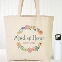 Floral Wreath Bridal Canvas Tote Bag