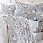 Great Bay Home Stratton Collection Polar Bear Flannel King Sheet Set in Blue