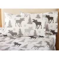Great Bay Home Stratton Collection Moose Flannel California King Sheet Set in Brown/White