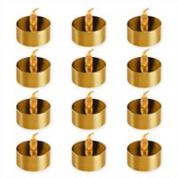 Lumabase 12-Count Gold Plated Battery Operated LED Tea Light
