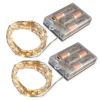50-Count LED Mini Fairy String Lights with Timer in Amber (Set of 2)