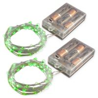 50-Count LED Mini Fairy String Lights with Timer in Green (Set of 2)