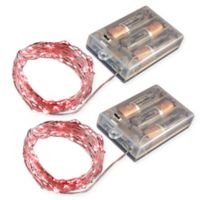 Battery Operated LED Waterproof Mini String Lights with Timer in Red