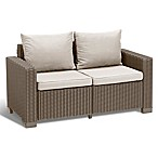 Keter California All-Weather Loveseat  in Cappuccino with Cushions