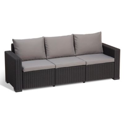 Keter California All Weather 3 Seater Sofa In Graphite With Cushions