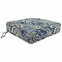 Print Tapered Boxed Edge Seat Cushion in Sunbrella® Ayideal Nautical