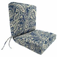 Jordan Manufacturing Boxed Edge Dining Chair Cushion in Sunbrella® Ayideal Nautical