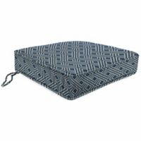 Print Tapered Boxed Edge Seat Cushion in Sunbrella® Integrated Indigo