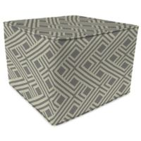 Print 20-Inch Square Outdoor Square Pouf Ottoman in Sunbrella® Integrated Steel