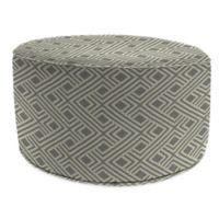 Print 24-Inch Outdoor Round Ottoman in Sunbrella® Integrated Steel