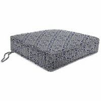 Print Tapered Boxed Edge Seat Cushion in Sunbrella® Ayathena Sapphire