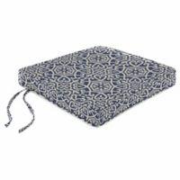 Print Boxed Chair Cushion in Sunbrella® Ayathena Sapphire
