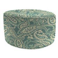 Print 24-Inch Outdoor Round Ottoman in Sunbrella® Ayideal Ocean