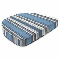 Stripe 19.5-Inch Square Dining Cushion-Boxed in Sunbrella® Aynovack Nautical